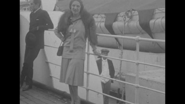 VS French tennis star Suzanne Lenglen on board ship with man / Note exact year not known