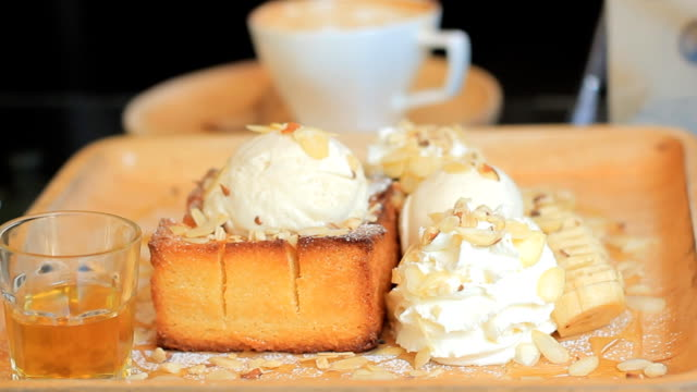 french toast with ice cream and honey syrup - maple stock videos & royalty-free footage