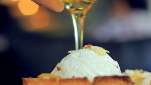 french toast with ice cream and honey syrup - maple syrup stock videos & royalty-free footage