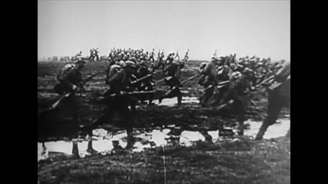 french troops run to attack / german soldiers retreating and giving up/ marshal ferdinand foch - defeat stock videos & royalty-free footage