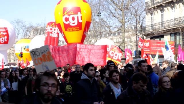 French unions and students protest against Khomri labor reform