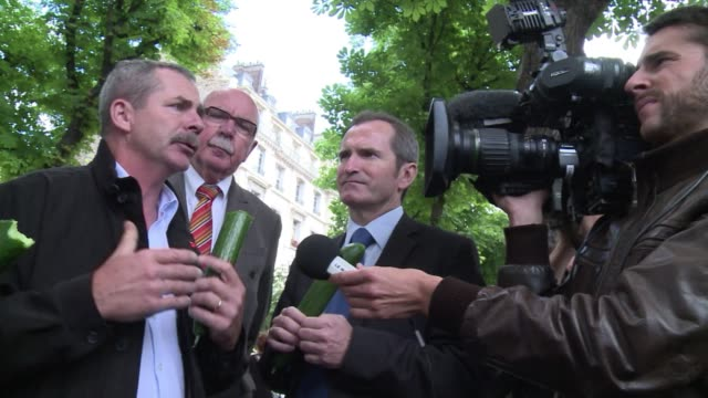 french vegetable growers have been gathering in paris to demonstrate, cucumbers in hand, over the loss of revenue caused by europe's deadly e. coli... - escherichia coli video stock e b–roll