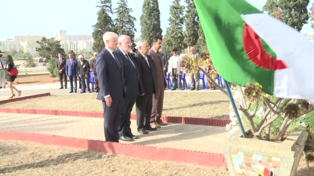french veterans minister jean marc todeschini lays a wreath in setif, algeria 70 years after a massacre that caused thousands of deaths - mass murder stock videos & royalty-free footage