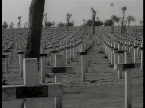 french world war i cemetery rows rows christian cross grave markers possibly near arras philippe petain leaving building walking saluting ws french... - grab stock-videos und b-roll-filmmaterial