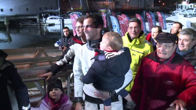 frenchman armel le cleach takes second place in the seventh vendee globe round the world race coming in several hours after his compatriot francois... - circumnavigation stock videos & royalty-free footage