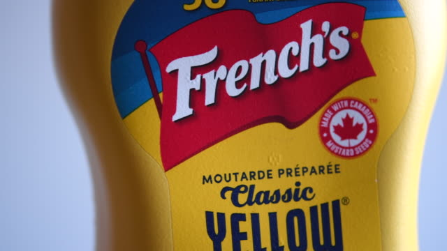 french's is an american brand of prepared mustard condiments fried onions and other food items - condiments stock videos and b-roll footage