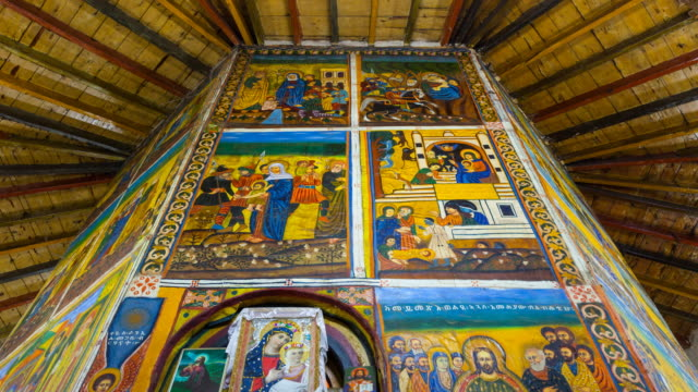 fresco in church of ragel - ethiopia stock videos and b-roll footage