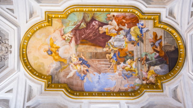 fresco in the center of the coffered ceiling san pietro in vincoli church, rome, italy, europe - church stock videos & royalty-free footage