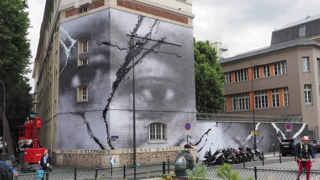 a fresco mural by french street artist and photographer jean rene aka jr is displayed on a wall on june 09 2020 in paris france the street artist... - artist stock videos & royalty-free footage