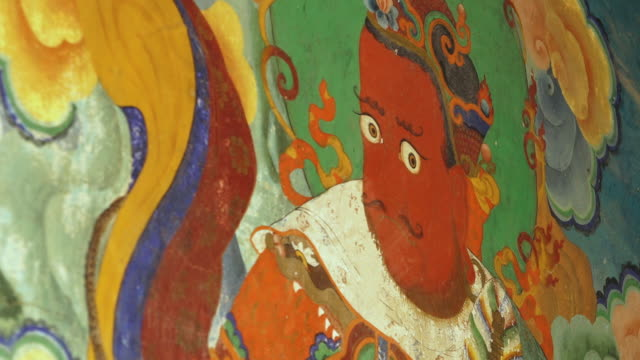 fresco of heavenly king on wall, mulbekh monastery - tradition stock videos & royalty-free footage