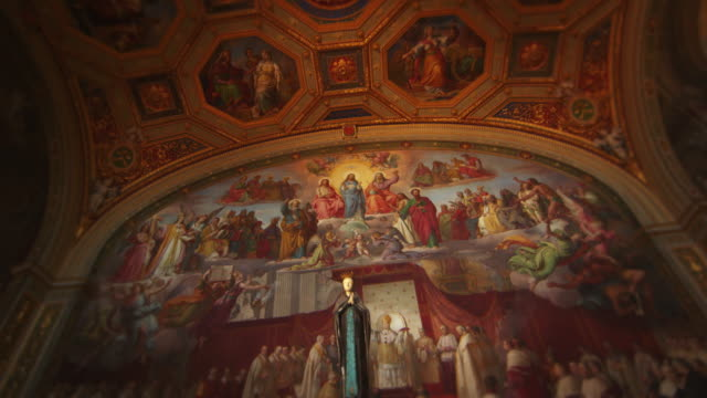 vidéos et rushes de fresco of pope pius ix declaring dogma of immaculate conception - religion