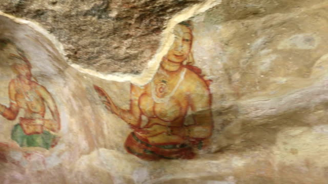 fresco of the sigiriya damsels, sri lanka - sri lankan culture stock videos & royalty-free footage