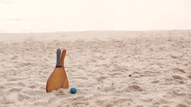 frescobol beach paddles - racket stock videos and b-roll footage