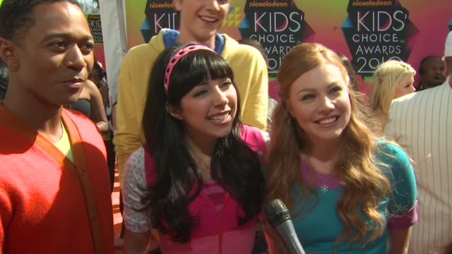 Fresh Beat Band on being at the event and on wanting to get slimed at the Nickelodeon's 23rd Annual Kids' Choice Awards Arrivals at Los Angeles CA