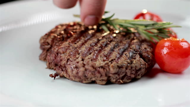 fresh beef steaks - cherry tomato stock videos & royalty-free footage