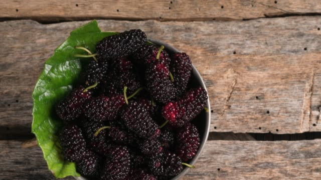 fresh black mulberry in a rustic bowl on a wood background - rustic stock videos & royalty-free footage