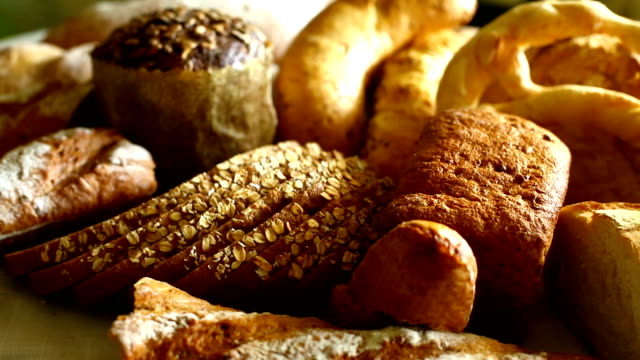 fresh breads and rolls. - pastry dough stock videos & royalty-free footage