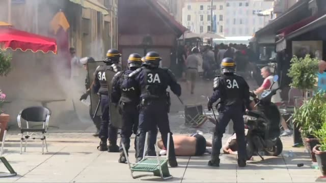 fresh clashes erupted on saturday between football fans gathered in the southern french city of marseille ahead of a euro 2016 match between england... - england stock videos & royalty-free footage