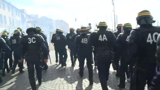vídeos de stock, filmes e b-roll de fresh clashes erupted on saturday between football fans gathered in the southern french city of marseille ahead of a euro 2016 match between england... - euro 2016