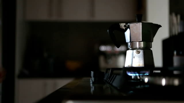 fresh coffee brewing in a mocha pot on a gast stove - mocha stock videos and b-roll footage