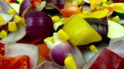 Fresh colorful vegetable mix rotating