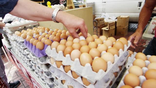 Fresh eggs in an open market