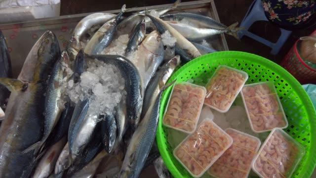 vídeos y material grabado en eventos de stock de contador de pescado fresco - atún crudo - vietnam