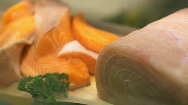 fresh fish display - fish market stock videos and b-roll footage