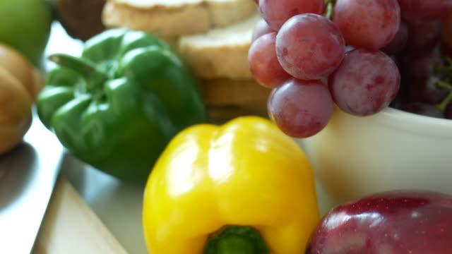 fresh food on white table