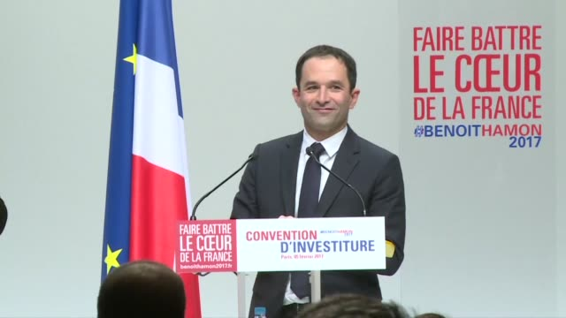 fresh from his victory in last month's french socialist primary leftist rebel benoit hamon is officially endorsed by the party which is hoping its... - socialist party stock videos and b-roll footage