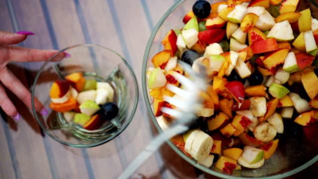 fresh fruit salad - fruit salad stock videos & royalty-free footage