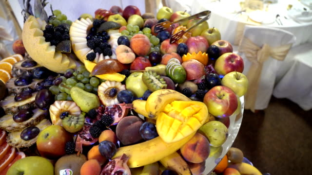 fresh fruit served on buffet table - buffet stock videos & royalty-free footage