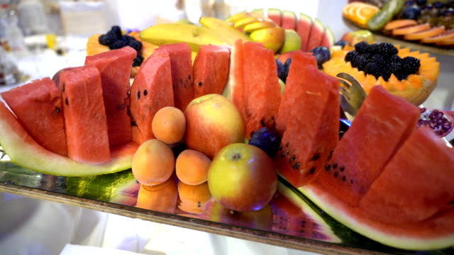 fresh fruit served on buffet table - plum stock videos & royalty-free footage