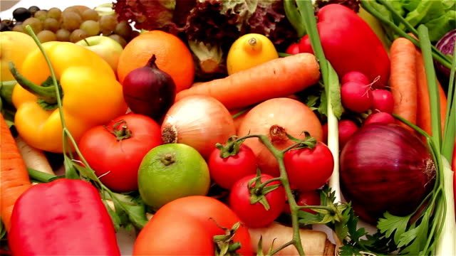 fresh fruits and vegetables - vegetable stock videos & royalty-free footage