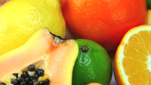 fresh fruits dolly shot - papaya stock videos & royalty-free footage