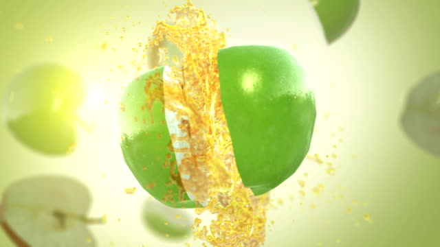fresh green apple (slow motion) - apple fruit stock videos and b-roll footage