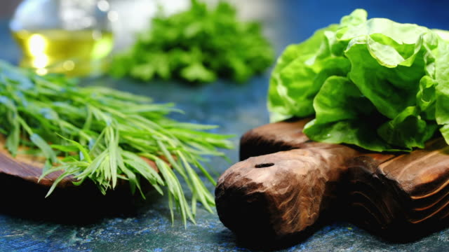 fresh herbs for cooking - salad oil stock videos & royalty-free footage