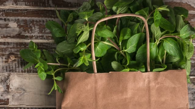 Fresh herbs mint leaf from garden in paper shopping bag