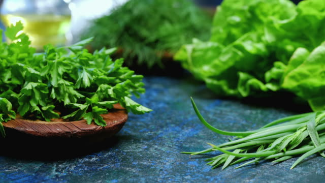 fresh herbs variety - salad oil stock videos & royalty-free footage