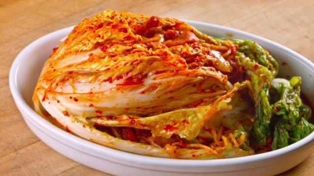 fresh kimchi close up - garnish stock videos and b-roll footage