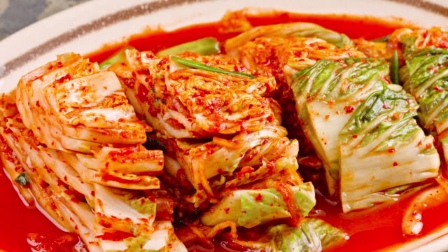 fresh kimchi close up - fermenting stock videos and b-roll footage