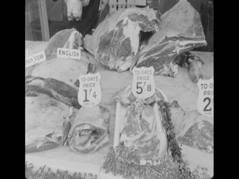 fresh meat for sale in a supermarket; 1970 - retail occupation stock videos & royalty-free footage