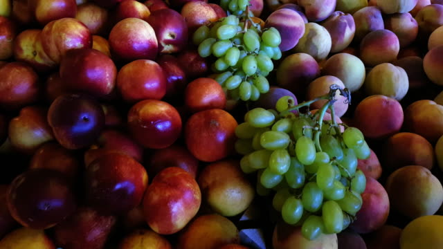 fresh nectarines and peaches on market display - cucina mediterranea video stock e b–roll