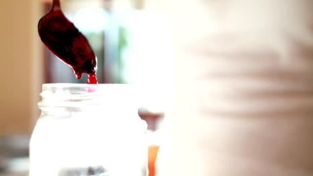 fresh organic cherry jam - eating utensil stock videos and b-roll footage