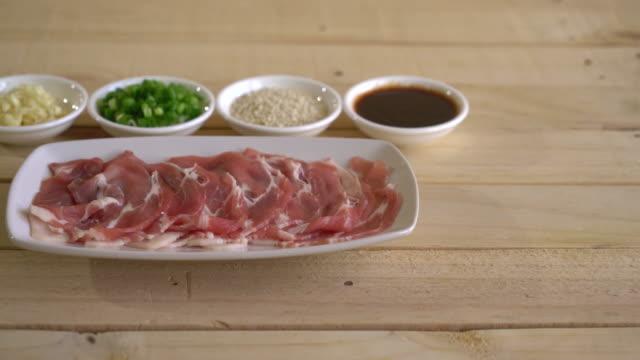 fresh pork sliced with ingredients