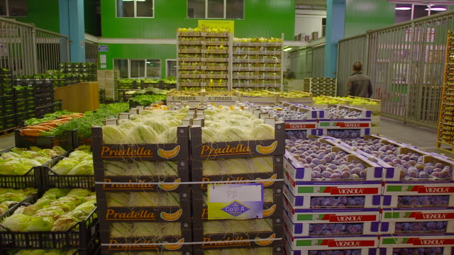 fresh produce refrigerated room in italy store, venezia - obst stock-videos und b-roll-filmmaterial