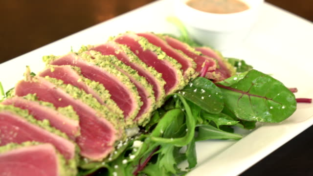 fresh raw tuna salad - tuna seafood stock videos and b-roll footage