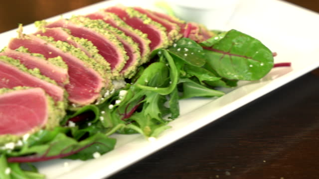 fresh raw tuna salad - japanese food stock videos and b-roll footage