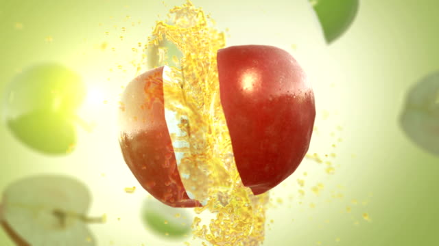 fresh red apple (slow motion) - apple fruit stock videos and b-roll footage