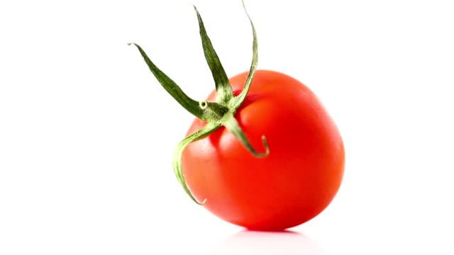 vidéos et rushes de dolly: tomate rouge sur fond blanc - un seul objet